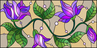 Stained glass illustration with abstract blue flowers on a beige background Royalty Free Stock Photo