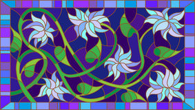 Stained glass illustration with abstract blue flowers on a blue background in the frame,horizontal orientation Royalty Free Stock Photos