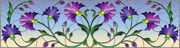 Stained glass illustration with abstract blue flowers on a blue  background,horizontal orientation. Illustration in stained glass style with abstract blue Royalty Free Stock Images