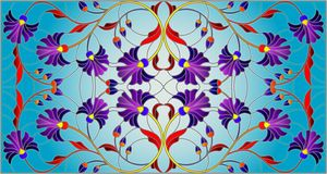 Stained glass illustration with abstract blue flowers on a blue background,horizontal orientation. Illustration in stained glass style with abstract blue flowers Vector Illustration