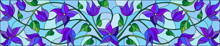 Stained glass illustration with abstract blue flowers on a blue  background,horizontal orientation Stock Photo