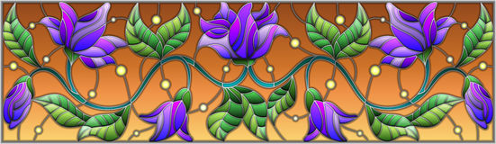 Stained glass illustration  with abstract blue flowers on a brown background Stock Photo