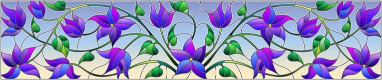 Stained glass illustration with abstract blue flowers on a sky background,horizontal orientation. Illustration in stained glass style with abstract blue flowers royalty free illustration