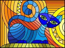 Stained glass illustration with abstract blue geometric cat on an orange background Stock Photography