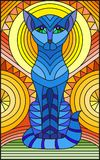 Stained glass illustration  with abstract blue geometric cat Stock Photography
