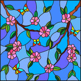 Stained glass illustration  with abstract cherry blossoms and butterflies on a sky background. Illustration in stained glass style with abstract cherry blossoms Royalty Free Stock Image
