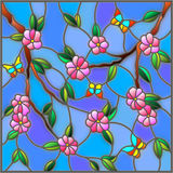 Stained glass illustration  with abstract cherry blossoms and butterflies on a sky background Stock Photos