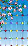 Stained glass illustration  with abstract cherry blossoms on a sky background Stock Photo