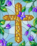 Stained glass illustration with abstract Christian cross and flowers Stock Images