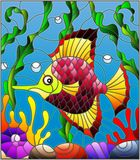 Stained glass illustration  with abstract colorful exotic fish amid seaweed, coral and shells. Illustration in stained glass style with abstract colorful exotic Royalty Free Stock Image