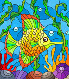 Stained glass illustration  with abstract colorful exotic fish amid seaweed, coral and shells Royalty Free Stock Image