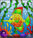 Stained glass illustration with abstract colorful exotic fish amid seaweed, coral and shells Royalty Free Stock Photos