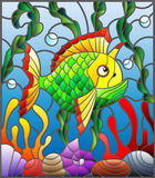 Stained glass illustration  with abstract colorful exotic fish amid seaweed, coral and shells Royalty Free Stock Photography
