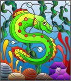 Stained glass illustration with abstract colorful exotic fish amid seaweed, coral and shells Stock Photos