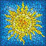 Stained glass illustration abstract cracked sun against the blue sky. Illustration in the style of a stained glass window abstract cracked sun against the blue stock illustration