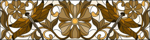 Stained glass illustration  with abstract dragonflies and flowers , mirror, horizontal image, brown tones of Sepia. Illustration in stained glass style with Royalty Free Stock Images