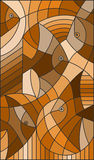 Stained glass illustration abstract fish,brown tone ,sepia Royalty Free Stock Photography