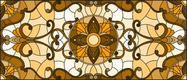 Stained glass illustration  with abstract flowers, swirls and leaves  on a light background,horizontal orientation, sepia. Illustration in stained glass style Stock Photo