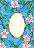 Stained glass illustration abstract frame with branches of a flowering plant on a blue background Stock Image