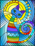 Stained glass illustration  with abstract geometric cat Royalty Free Stock Image