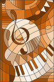 Stained glass illustration Abstract image of a treble clef in stained glass style ,brown tone Stock Photos