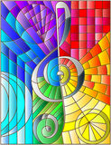 Stained glass illustration Abstract image of a treble clef in stained glass style rainbow background Royalty Free Stock Photos