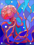 Stained glass illustration of abstract jellyfish Stock Images