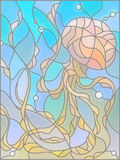 Stained glass illustration with abstract jellyfish Stock Photo