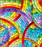 Stained glass illustration  with Abstract mosaic background of colored tiles laid in a circle Stock Images