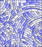 Stained glass illustration Abstract mosaic background of  tiles on a dark background,blue tone Stock Image