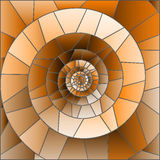 Stained glass illustration with Abstract mosaic image, tiles arranged in a spiral,brown tone, Sepia. Abstract mosaic image, tiles arranged in a spiral,brown tone vector illustration