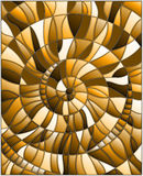 Stained glass illustration  with abstract mosaic image,  tiles arranged in a spiral, brown tone ,sepia Stock Photo
