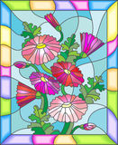 Stained glass illustration of abstract pink daisies in a bright frame. Illustration in stained glass style with flowers, buds and leaves of Marguerite Royalty Free Stock Photo