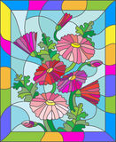 Stained glass illustration of abstract pink daisies in a bright frame. Illustration in stained glass style with flowers, buds and leaves of Marguerite Stock Photography