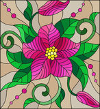 Stained glass illustration with abstract pink flower, buds and leaves on a brown background Royalty Free Stock Photography