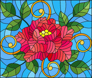 Stained glass illustration  with abstract pink flower, buds and leaves of rose on a blue background. Illustration in stained glass style with abstract pink Royalty Free Stock Images