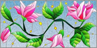 Stained glass illustration   with abstract pink flowers on a blue background. Illustration in stained glass style with abstract pink flowers on a blue background Royalty Free Stock Photo