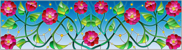 Stained glass illustration with abstract pink flowers on a blue background Stock Photography