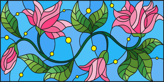 Stained glass illustration with abstract pink flowers on a blue background Stock Image