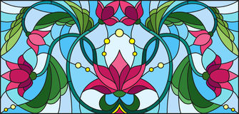 Stained glass illustration  with abstract pink flowers on a blue background Stock Photo