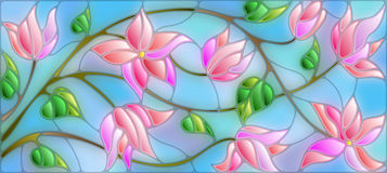 Stained glass illustration with abstract pink flowers on blue background. Illustration in stained glass style with abstract cherry blossoms on a blue background Stock Photography