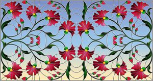Stained glass illustration  with abstract pink flowers on a sky  background,horizontal orientation. Illustration in stained glass style with abstract pink Stock Photos