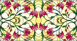 Stained glass illustration  with abstract pink flowers on a yellow  background,horizontal orientation. Illustration in stained glass style with abstract pink Stock Image