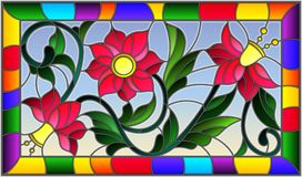Stained glass illustration with abstract pink flowers on a yellow background   Stock Photos