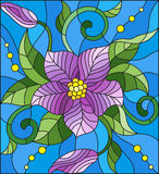 Stained glass illustration with abstract purple flower, buds and leaves on a blue background Royalty Free Stock Images