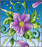 Stained glass illustration with abstract purple flower, buds and leaves on a blue background Stock Image