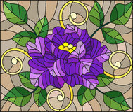 Stained glass illustration  with abstract purple flower, buds and leaves of rose on a brown background Royalty Free Stock Image