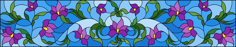 Stained glass illustration with abstract purple flowers on a blue background,horizontal orientation. Illustration in stained glass style with abstract purple stock illustration