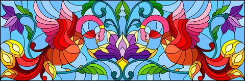 Stained glass illustration  with abstract red birds and purple flowers on a light background , mirror, horizontal image Royalty Free Stock Photography
