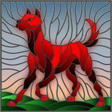 Stained glass illustration abstract in red dog on a background of meadows and sky. Illustration in stained glass style abstract in red dog on a background of Stock Images